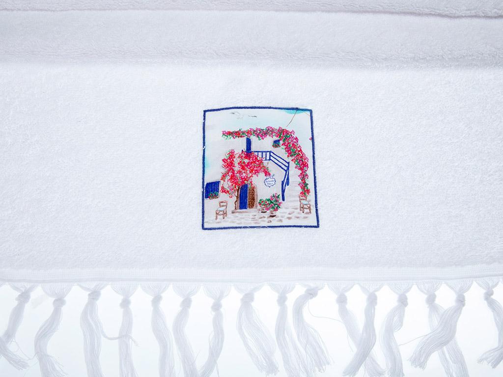 Aegean House Nakışlı Saçaklı Yüz Havlusu 50x80 Cm Açık Mavi