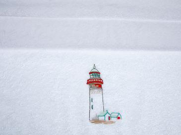 Lighthouse Beach Nakışlı Yüz Havlusu 50x80 Cm Beyaz