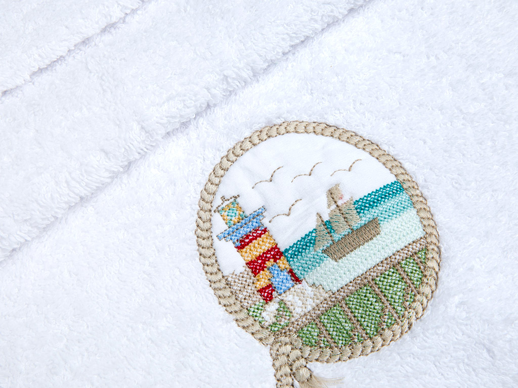 Lighthouse Nakışlı Yüz Havlusu 50x80 Cm Beyaz