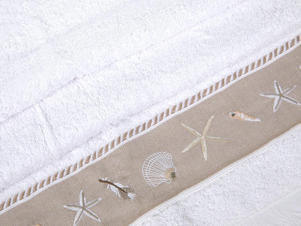 Seashell Nakışlı Saçaklı Yüz Havlusu 50x80 Cm Beyaz