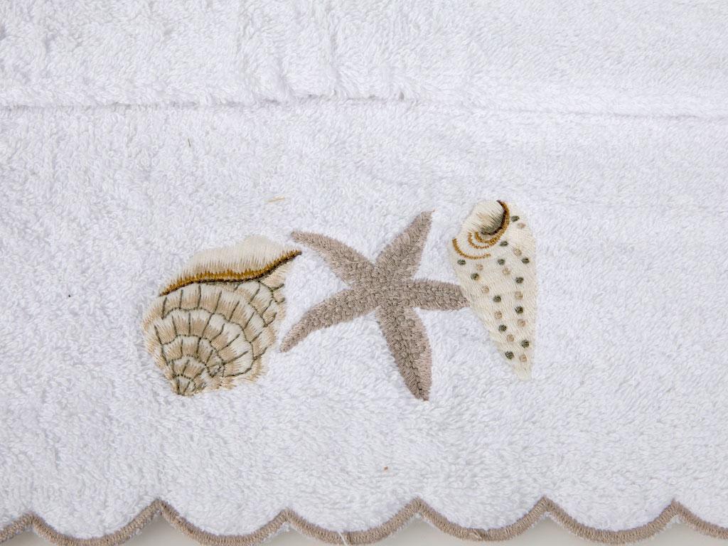 Sea Life Nakışlı Yüz Havlusu 50x80 Cm Beyaz