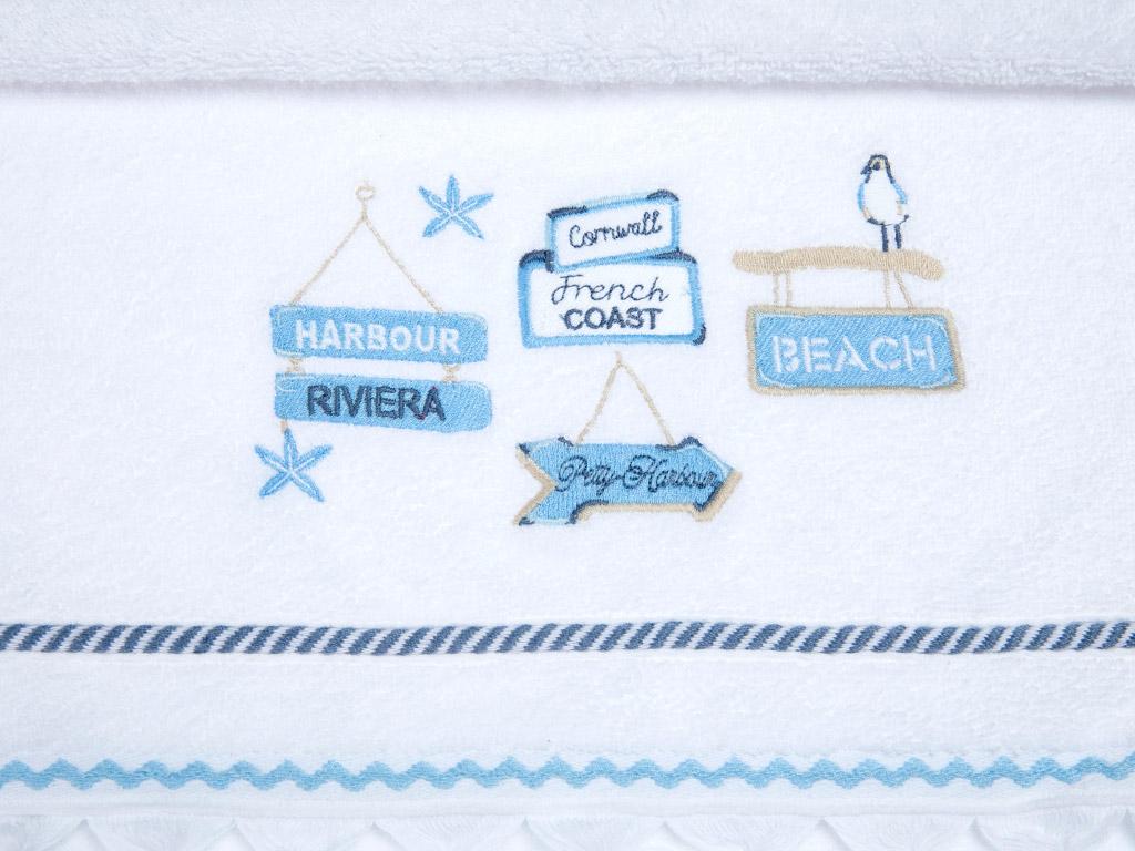 Harbour Nakışlı Saçaklı Yüz Havlusu 50x80 Cm Beyaz