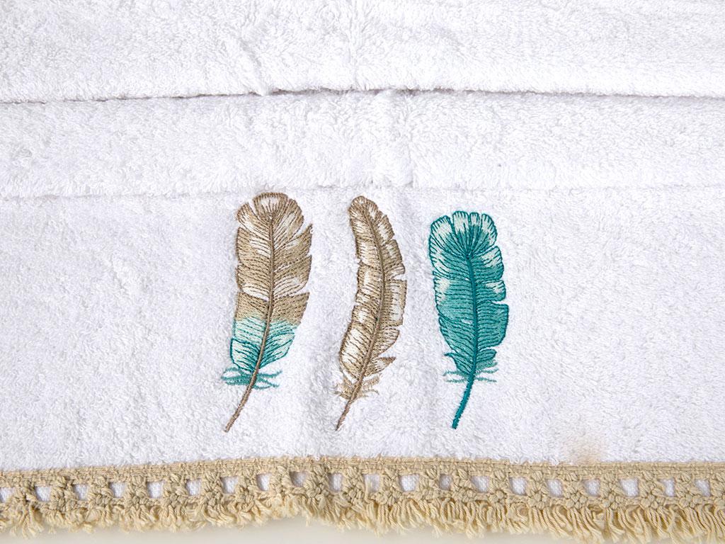 Feathers Nakışlı Saçaklı Yüz Havlusu 50x80 Cm Beyaz - Yeşil