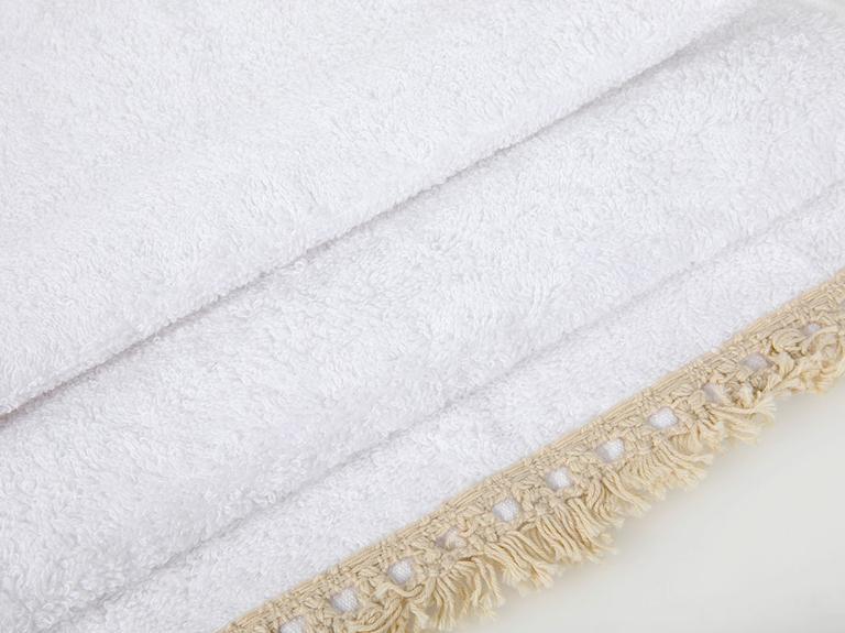 Feathers Nakışlı Saçaklı El Havlusu 30x45 Cm Beyaz - Yeşil