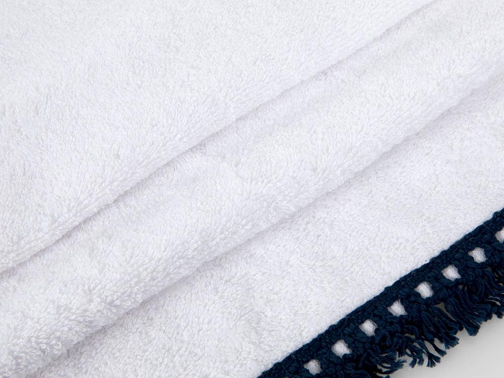 Feathers Nakışlı Saçaklı El Havlusu 30x45 Cm Beyaz - Lacivert