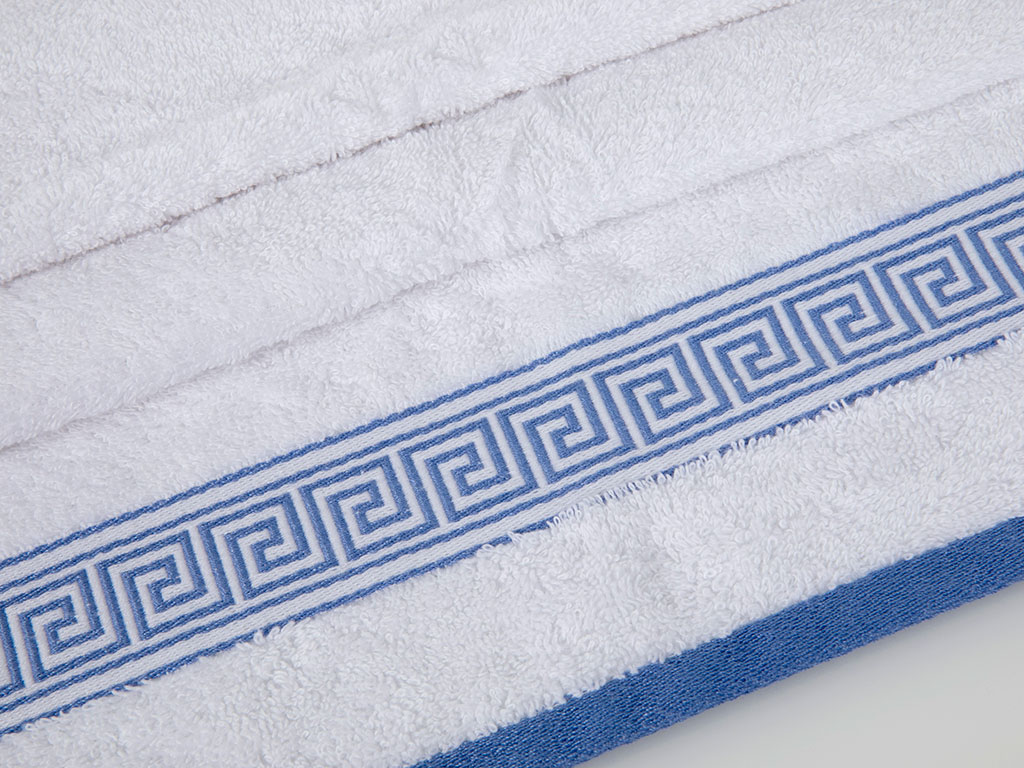 Greek Key Jakarlı Yüz Havlusu 50x80 Cm Beyaz