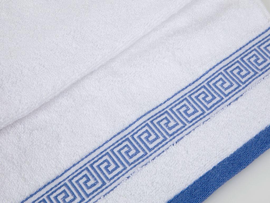 Greek Key Jakarlı El Havlusu 30x45 Cm Beyaz
