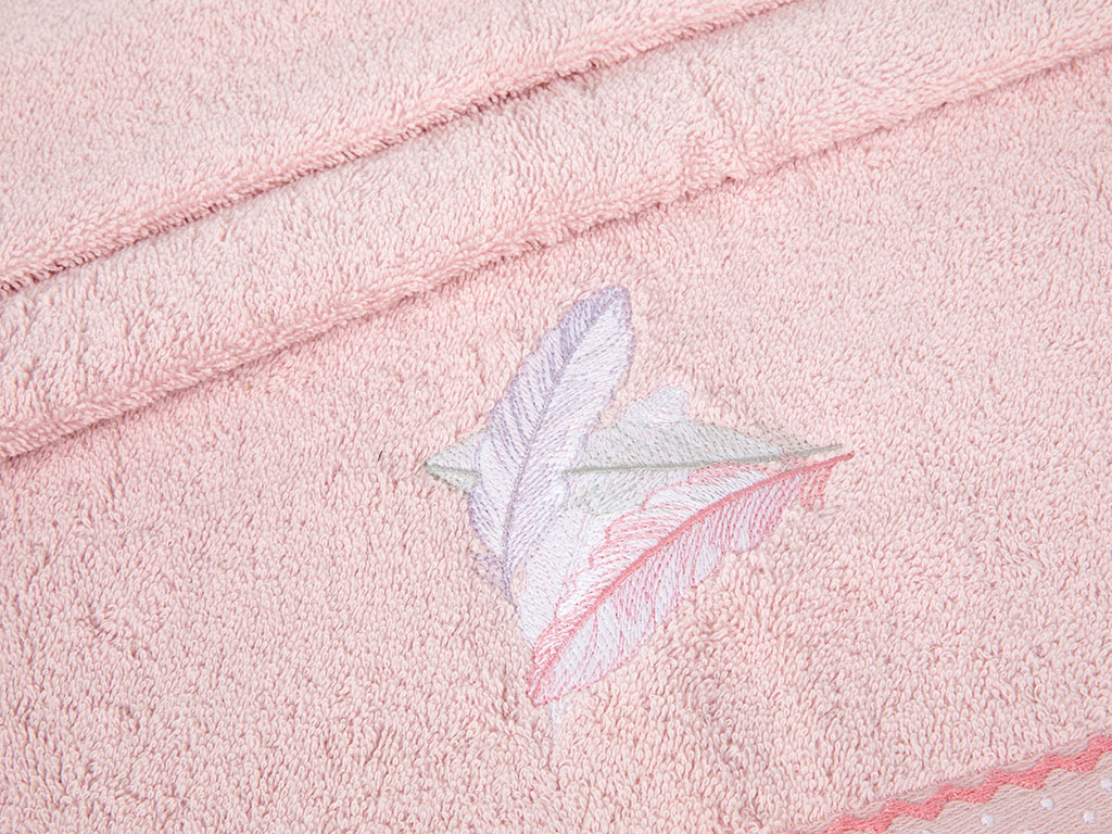 Pink Feathers Nakışlı Yüz Havlusu 50x80 Cm Pembe