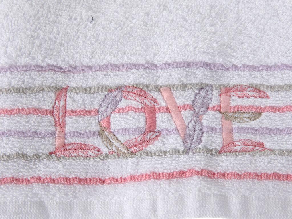 Love Nakışlı Püsküllü Yüz Havlusu 50x80 Cm Beyaz