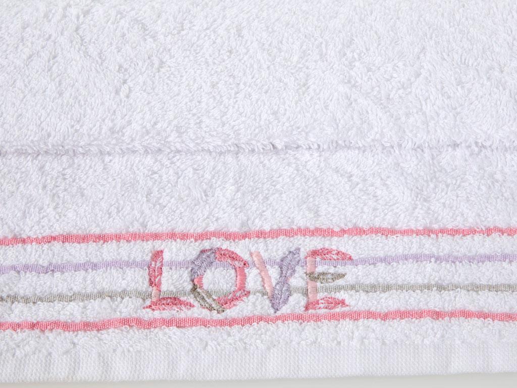 Love Nakışlı Püsküllü El Havlusu 30x45 Cm Beyaz