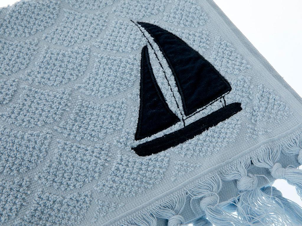 Wave Tassels Jakarlı Aplikeli Yüz Havlusu 50x80 Cm Mavi