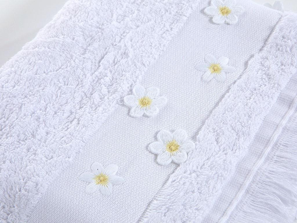 Daisy Garden Nakışlı Saçaklı El Havlusu 30x45 Cm Beyaz