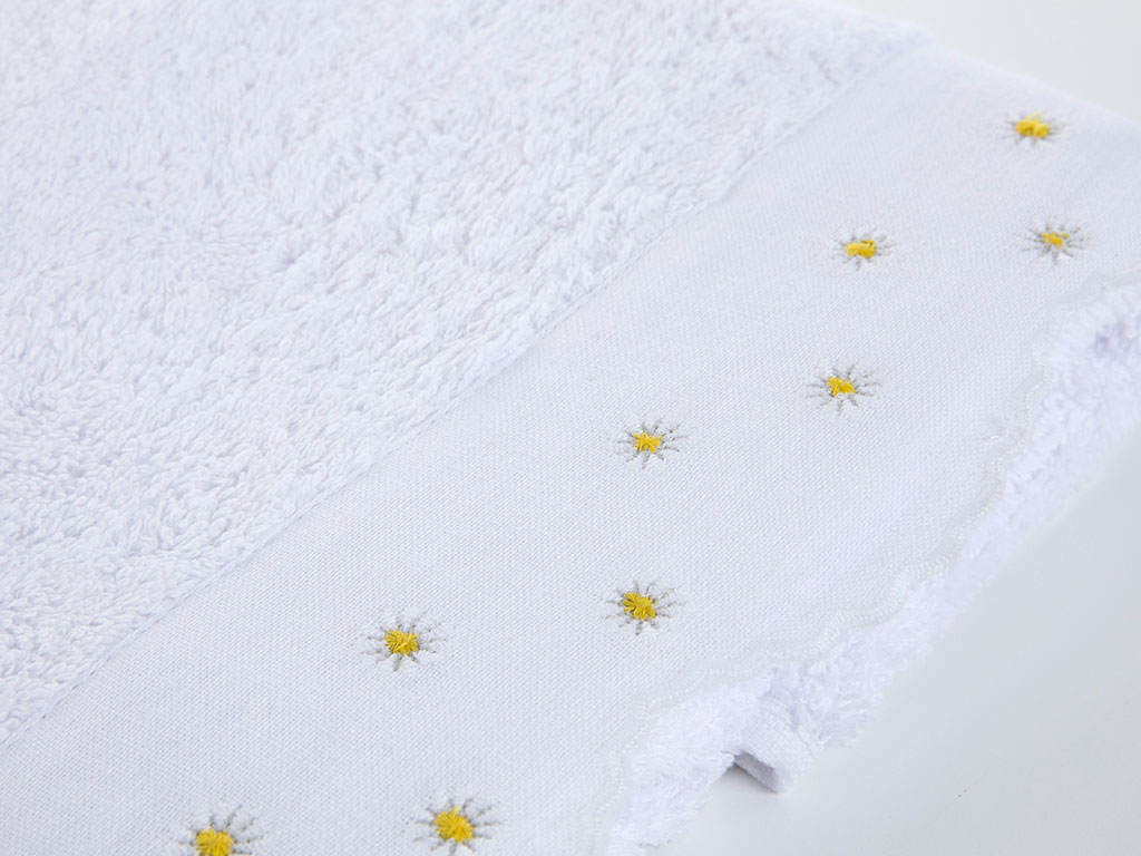 Vivacious Nakışlı Yüz Havlusu 50x80 Cm Beyaz
