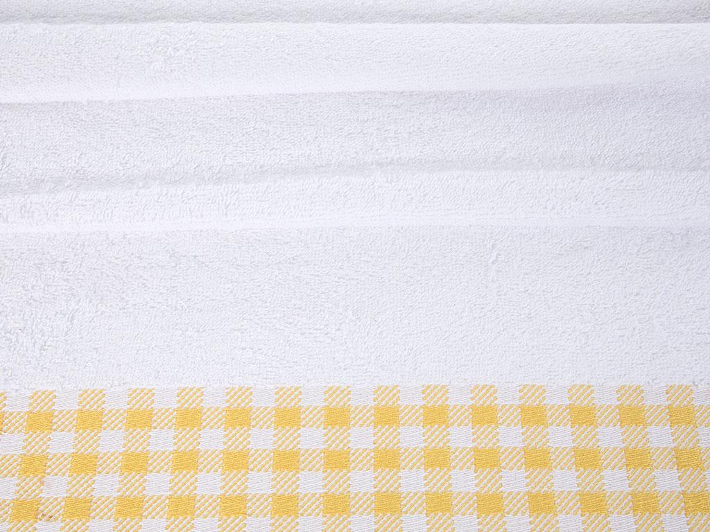 Plaid Jakarlı Yüz Havlusu 50x80 Cm Beyaz