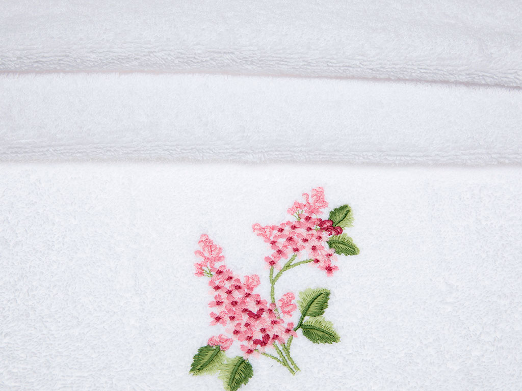 Ivy Lilac Nakışlı Yüz Havlusu 50x80 Cm Beyaz