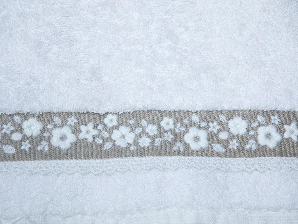 Armona Nakışlı Yüz Havlusu 50x80 Cm Beyaz