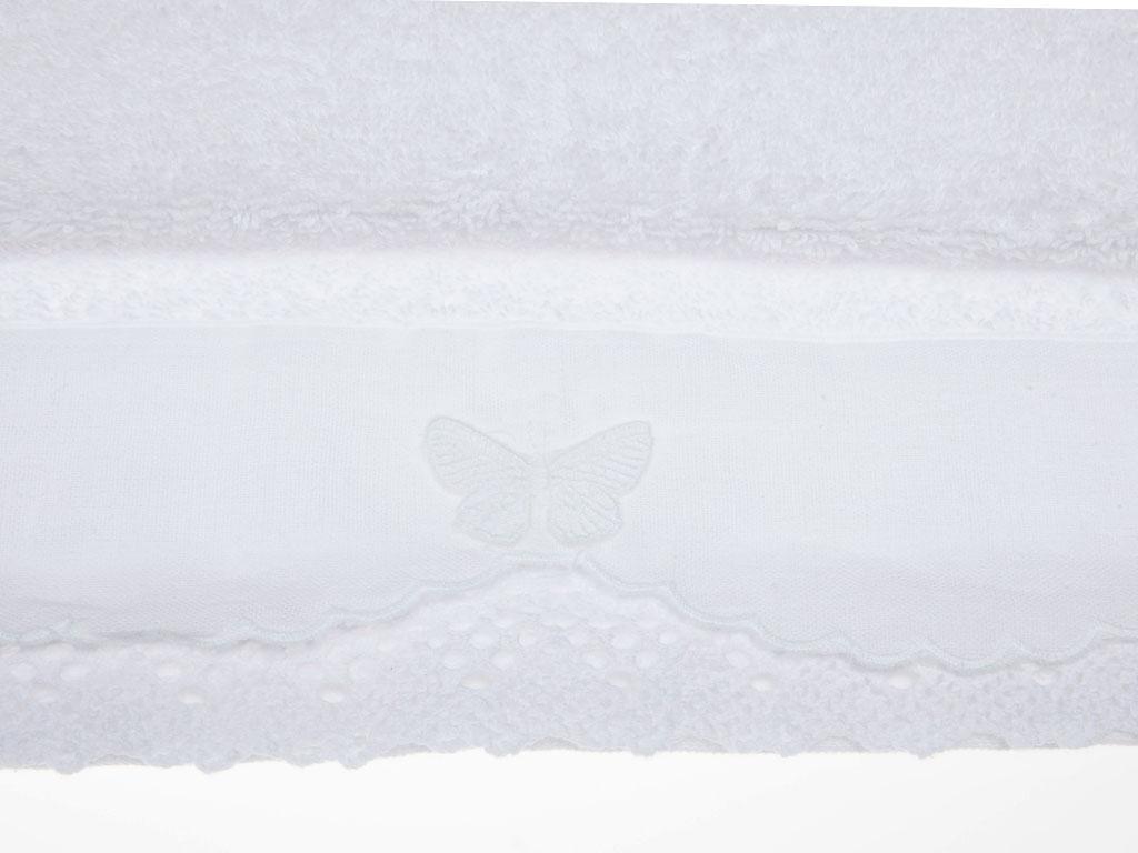 Butterfly Kopanakili Kopanakili Yüz Havlusu 50x80 Cm Beyaz