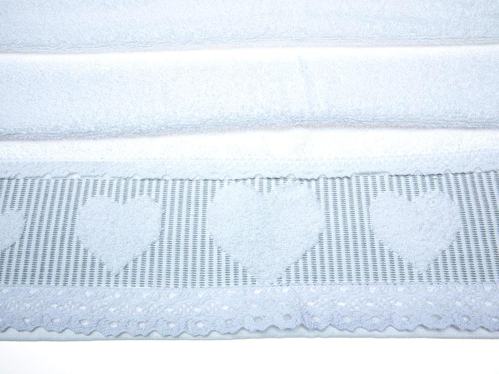 Rosy Love Jakarlı Kopanakili Yüz Havlusu 50x80 Cm Beyaz - Gri