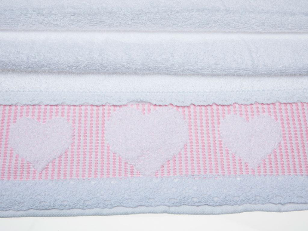 Rosy Love Jakarlı Kopanakili Yüz Havlusu 50x80 Cm Beyaz - Pembe