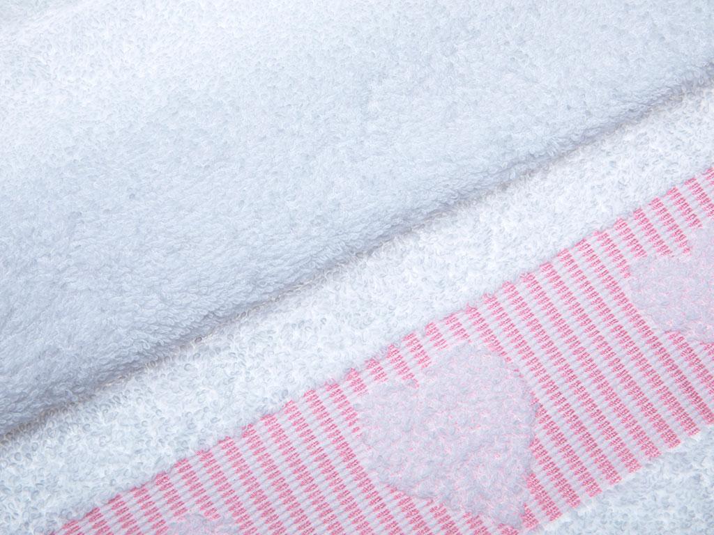 Rosy Love Jakarlı El Havlusu 30x45 Cm Beyaz - Pembe