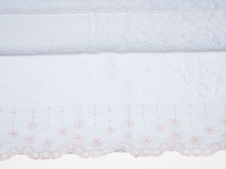 Rose Rain Nakışlı Yüz Havlusu 50x80 Cm Beyaz
