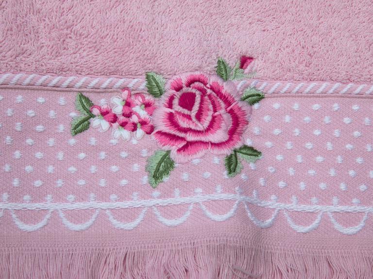 Pink Roses Nakışlı Saçaklı Yüz Havlusu 50x80 Cm Açık Pembe