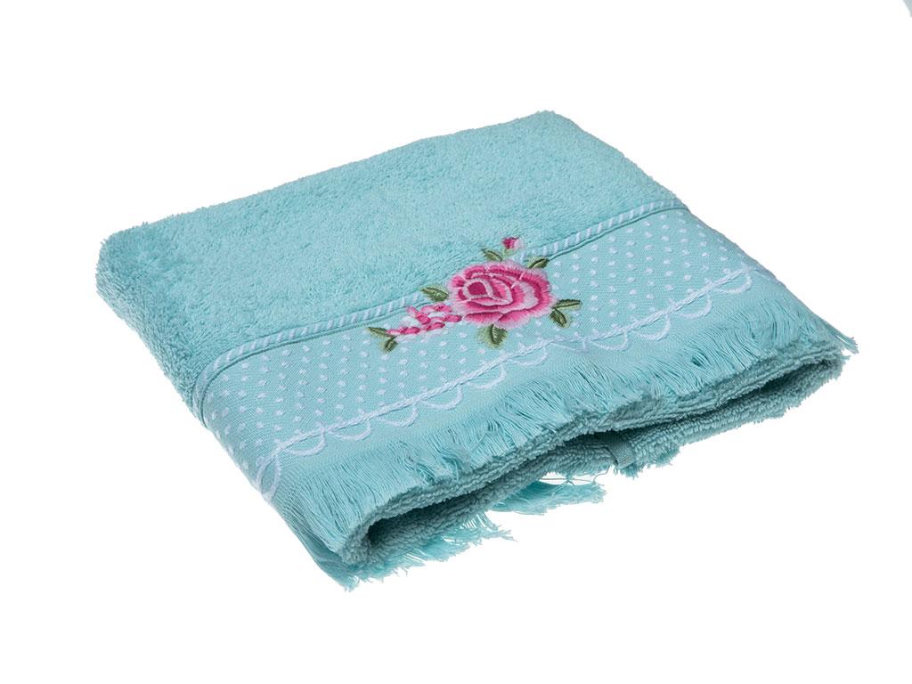 Pink Roses Nakışlı Saçaklı Yüz Havlusu 50x80 Cm Mavi