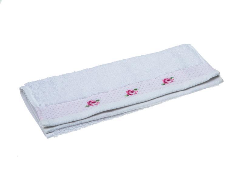 Rose Scroll Nakışlı El Havlusu 30x45 Cm Beyaz