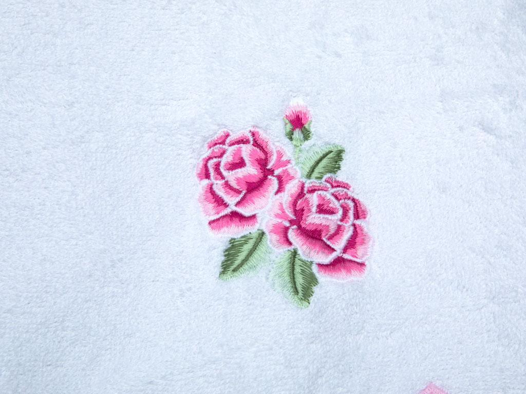 Spring Time Nakışlı Yüz Havlusu 50x80 Cm Beyaz