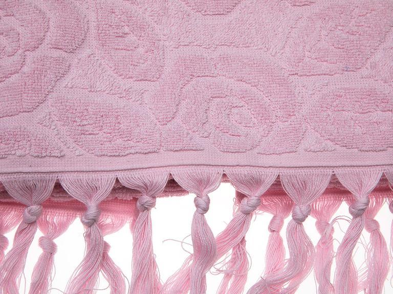 Rosy Rose Jakarlı Saçaklı Yüz Havlusu 50x80 Cm Açık Pembe