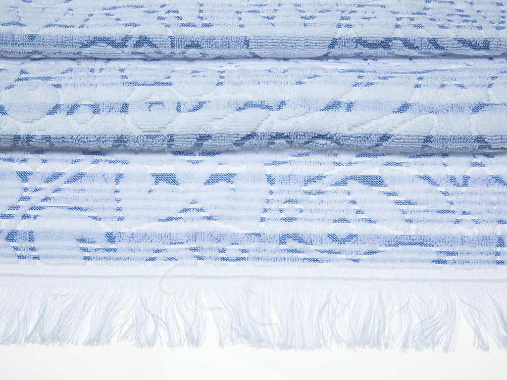Daisy Line Jakarlı Saçaklı Yüz Havlusu 50x80 Cm Mavi