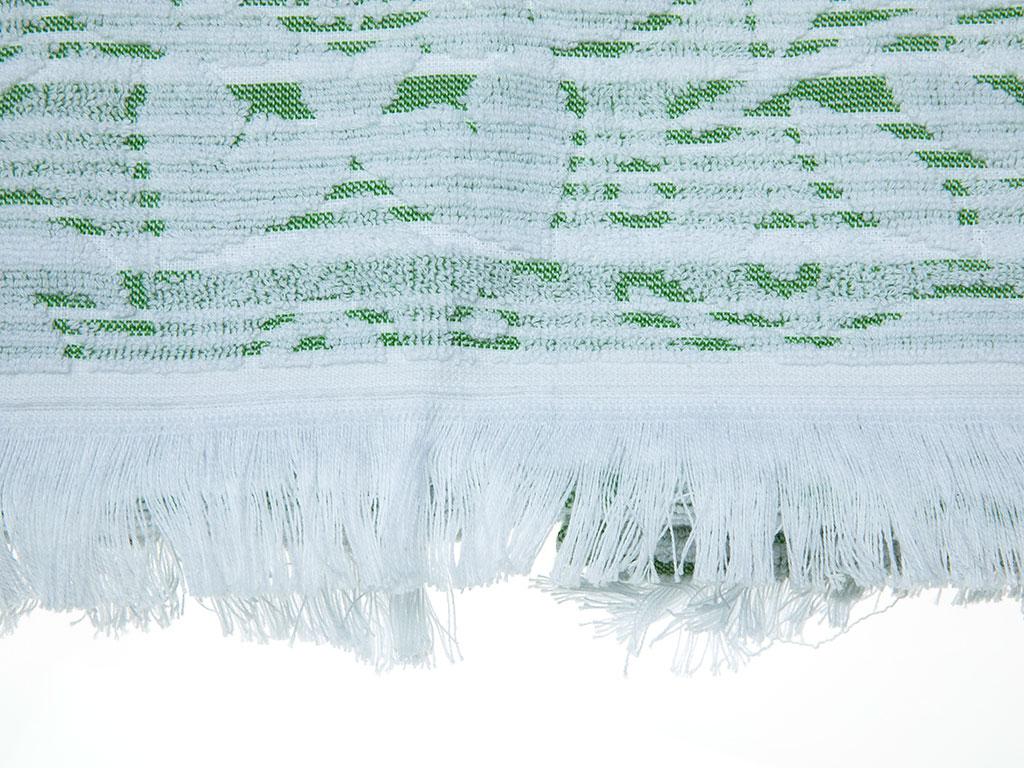 Daisy Line Jakarlı Saçaklı Yüz Havlusu 50x80 Cm Yeşil