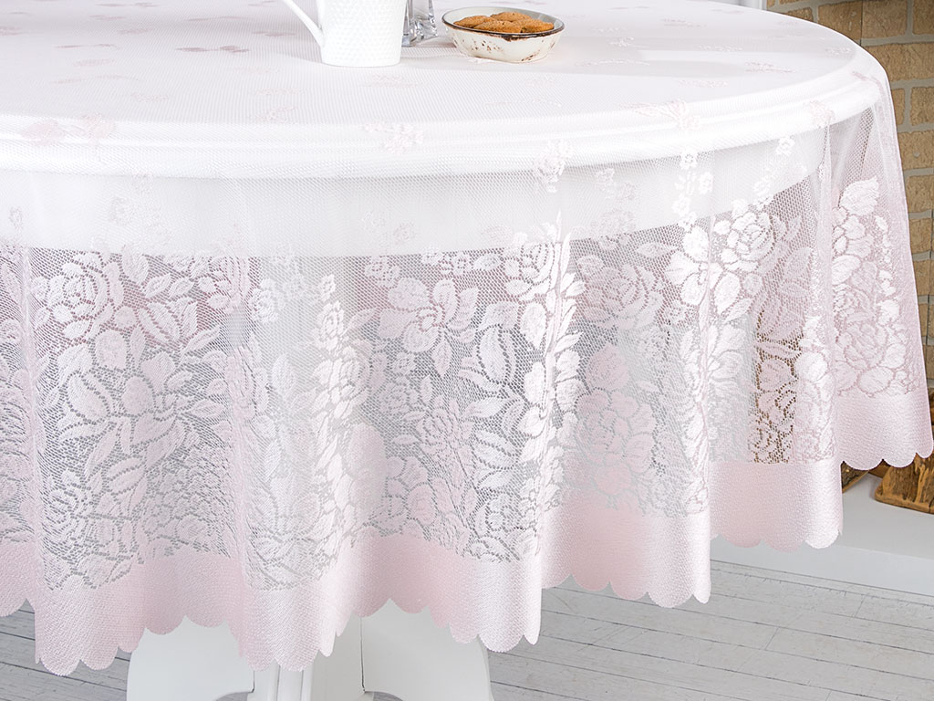 Rosy Rain Örme Masa Örtüsü 180 Cm Pembe