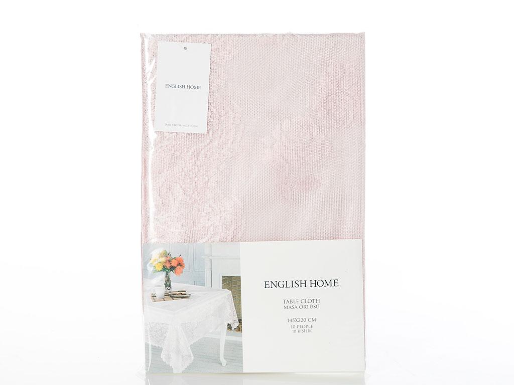 Fancy Roses Örme Masa Örtüsü 95x95 Cm Pembe