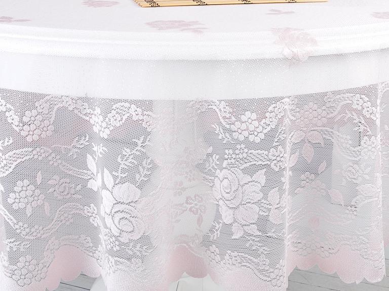 Fancy Roses Örme Masa Örtüsü 180 Cm Pembe