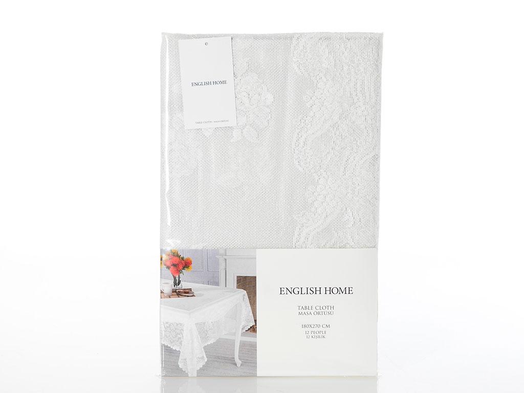 Fancy Roses Örme Masa Örtüsü 180x270 Cm Şampanya