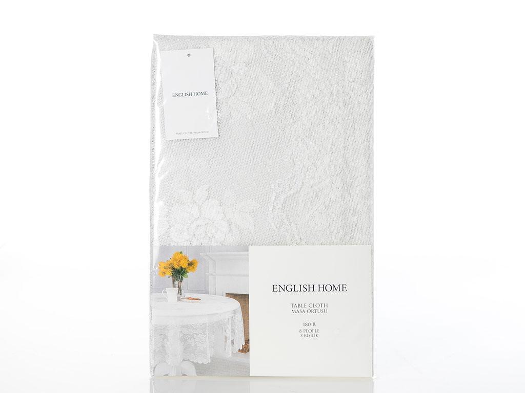 Fancy Roses Örme Masa Örtüsü 180 Cm Şampanya