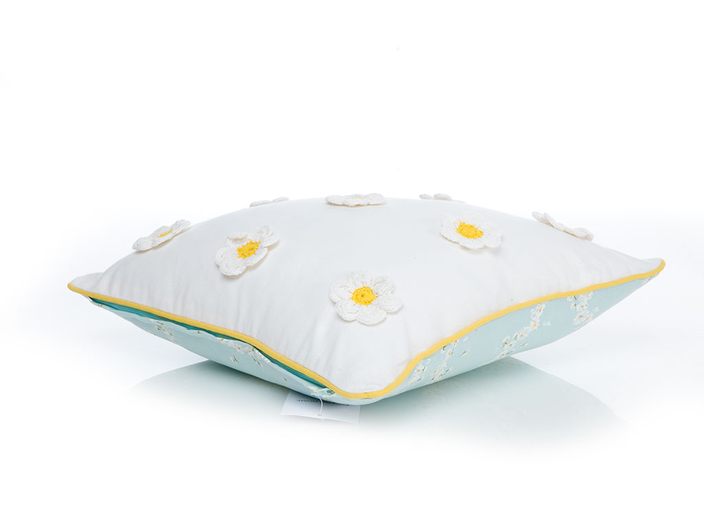Daisy Love Pamuklu Dolgusuz Kırlent 40x40 Cm Beyaz - Sarı
