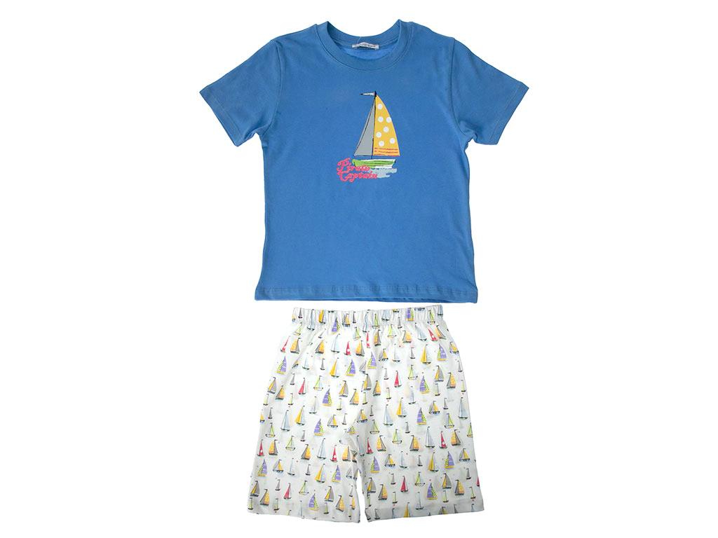 Sailer Pamuklu Erkek Çocuk Pijama Takımı 5-6 Yaş Mavi