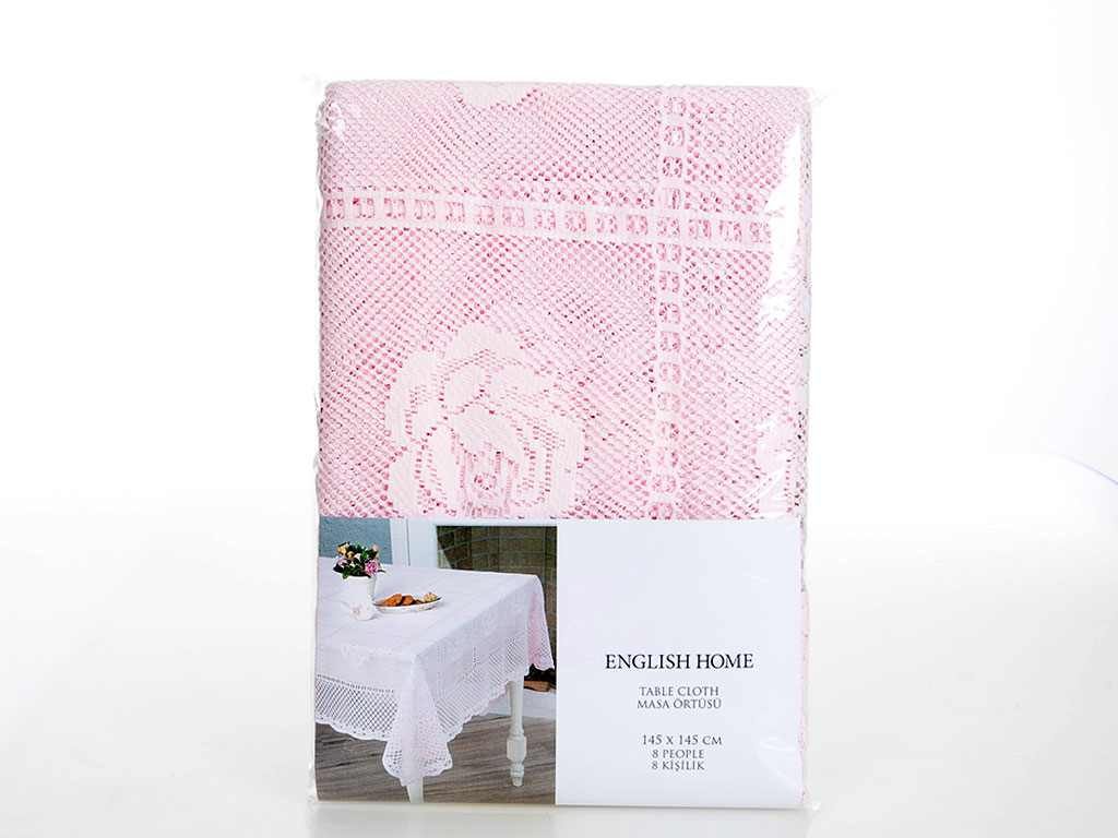 Rosepatch Örme Masa Örtüsü 145x145 Cm Pembe