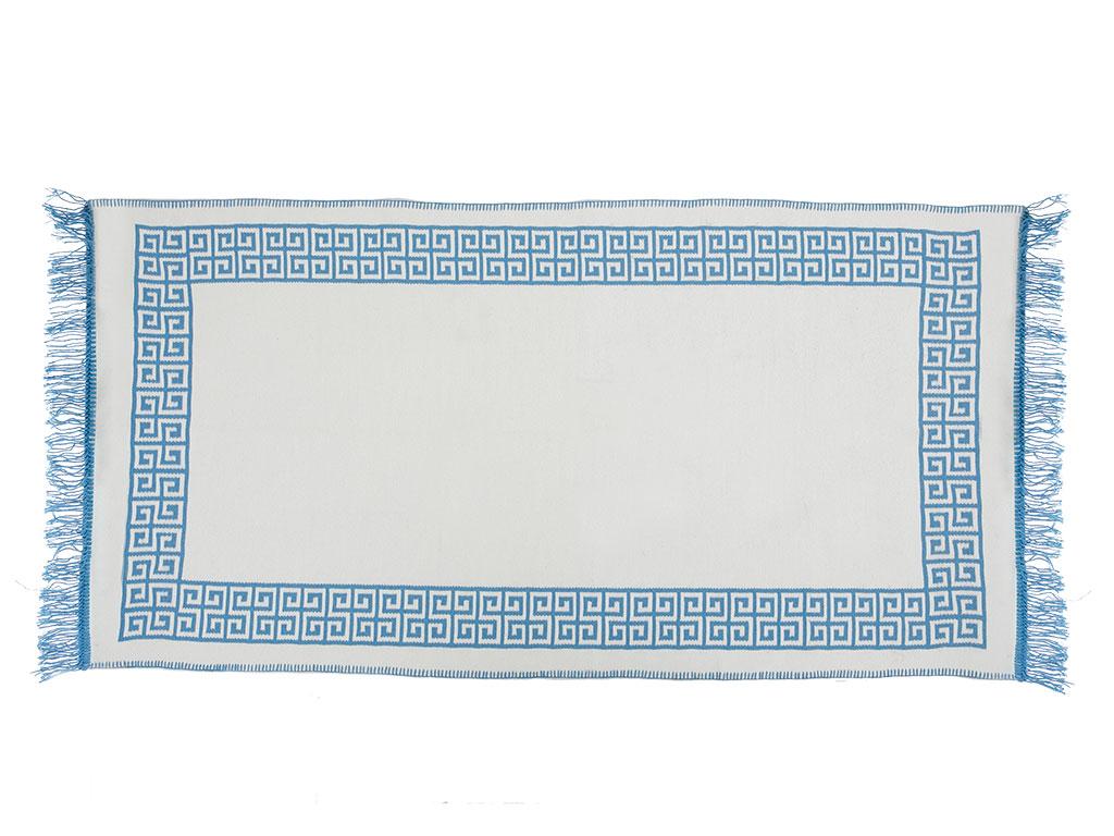 Greek Key Jakarlı Kılım 80x150 Cm Beyaz - Mavi