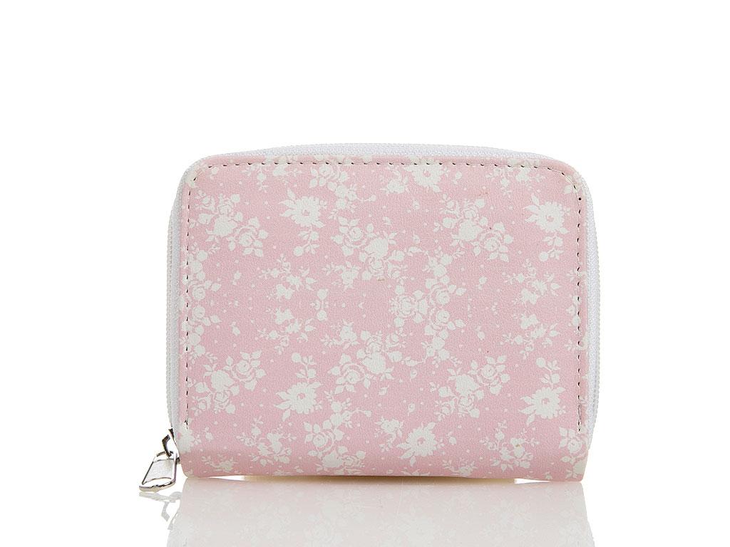 Daisy Pink Suni Deri Cüzdan 11x14 Cm Pembe - Beyaz