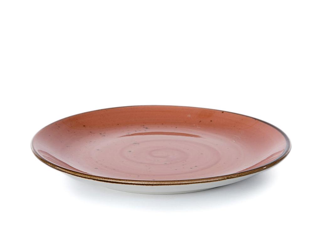 Oslo Porselen Tekli Pasta Tabağı 19 Cm Koyu Pembe