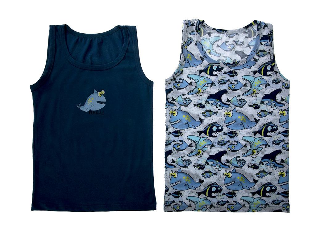 Big Fish Pamuklu Erkek 2'li Çocuk Atlet 3-4 Yaş Mavi
