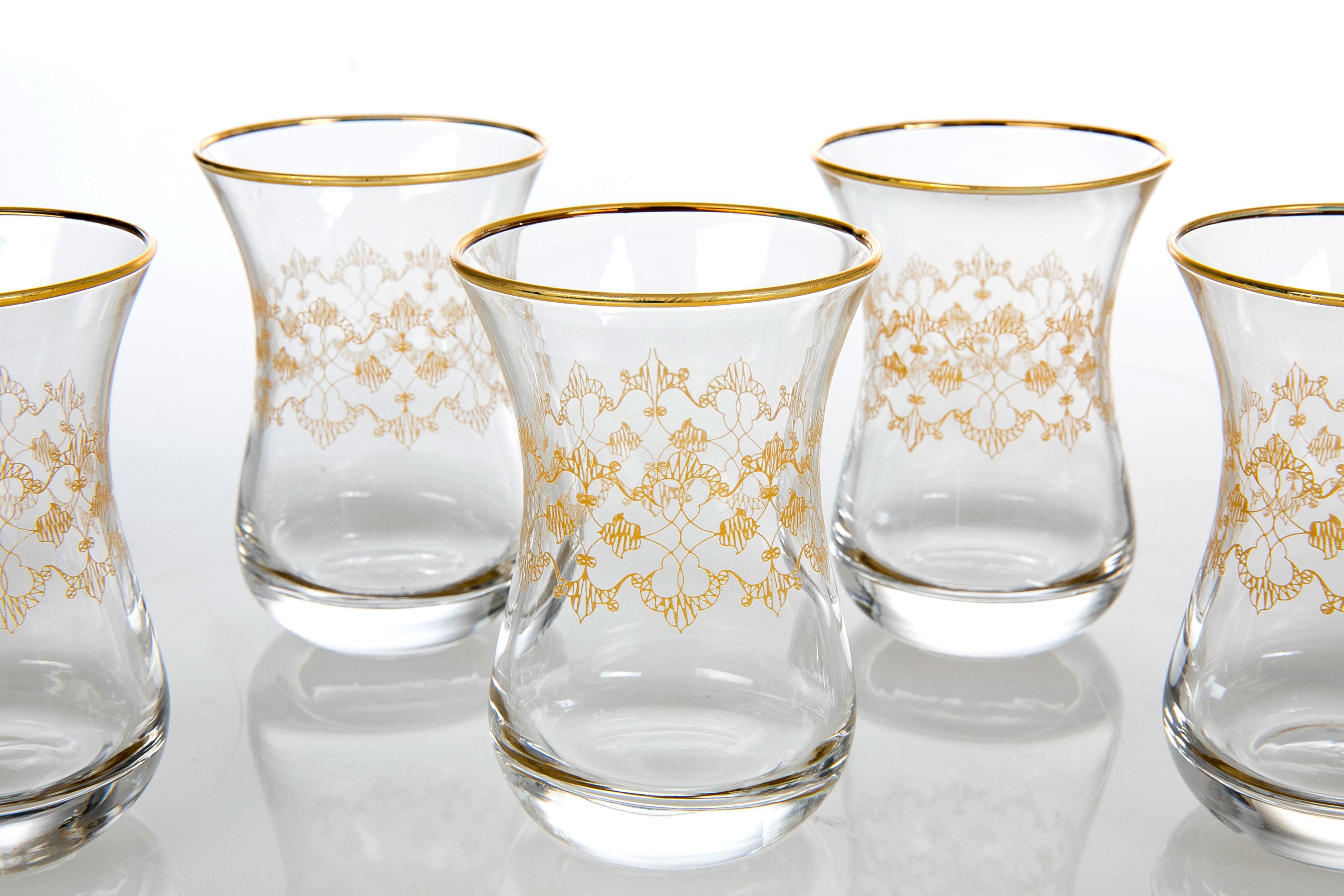 Marta Cam 6'lı Çay Bardağı 115 Cc Gold