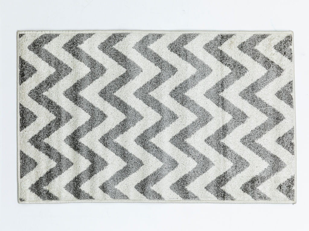 Zigzag Polyolefin Halı 67x120 Cm Beyaz - Gri