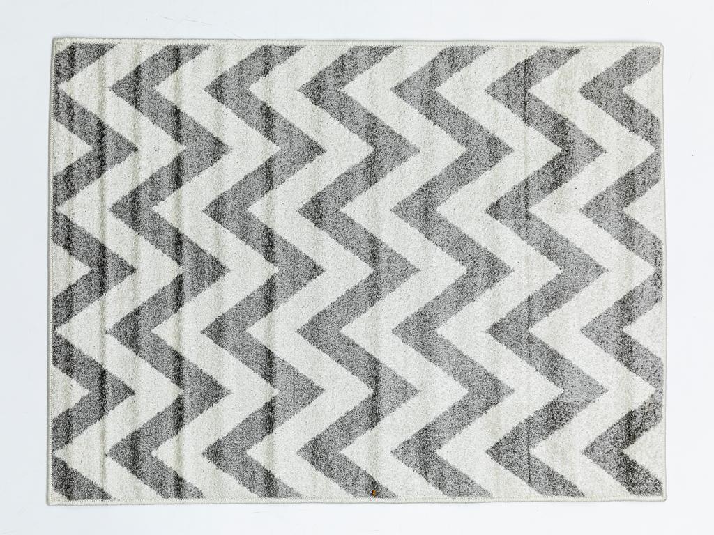 Zigzag Polyolefin Halı 100x150 Cm Beyaz - Gri