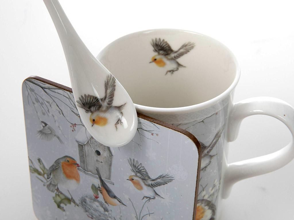 Bird Love Porselen Bardak Altı Ve Kaşıklı Kupa 18,0x16,5x8,0 Cm Beyaz