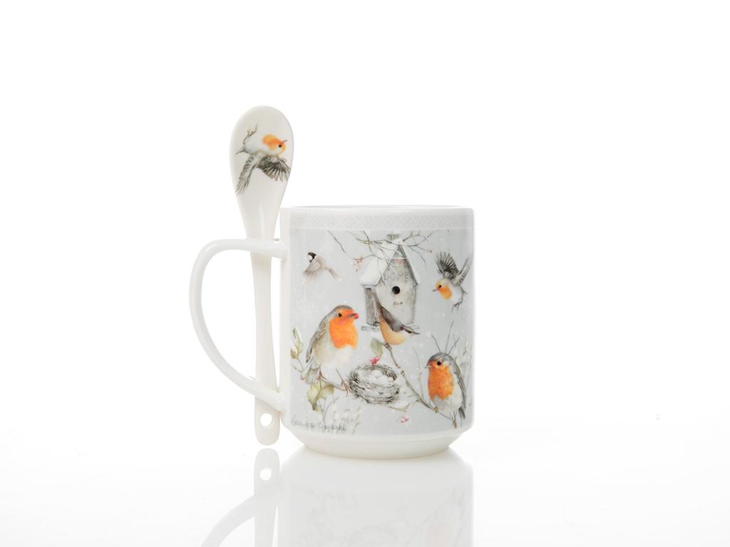 Bird Love Porselen Kaşıklı Kupa 12,0x9,7 Cm Beyaz