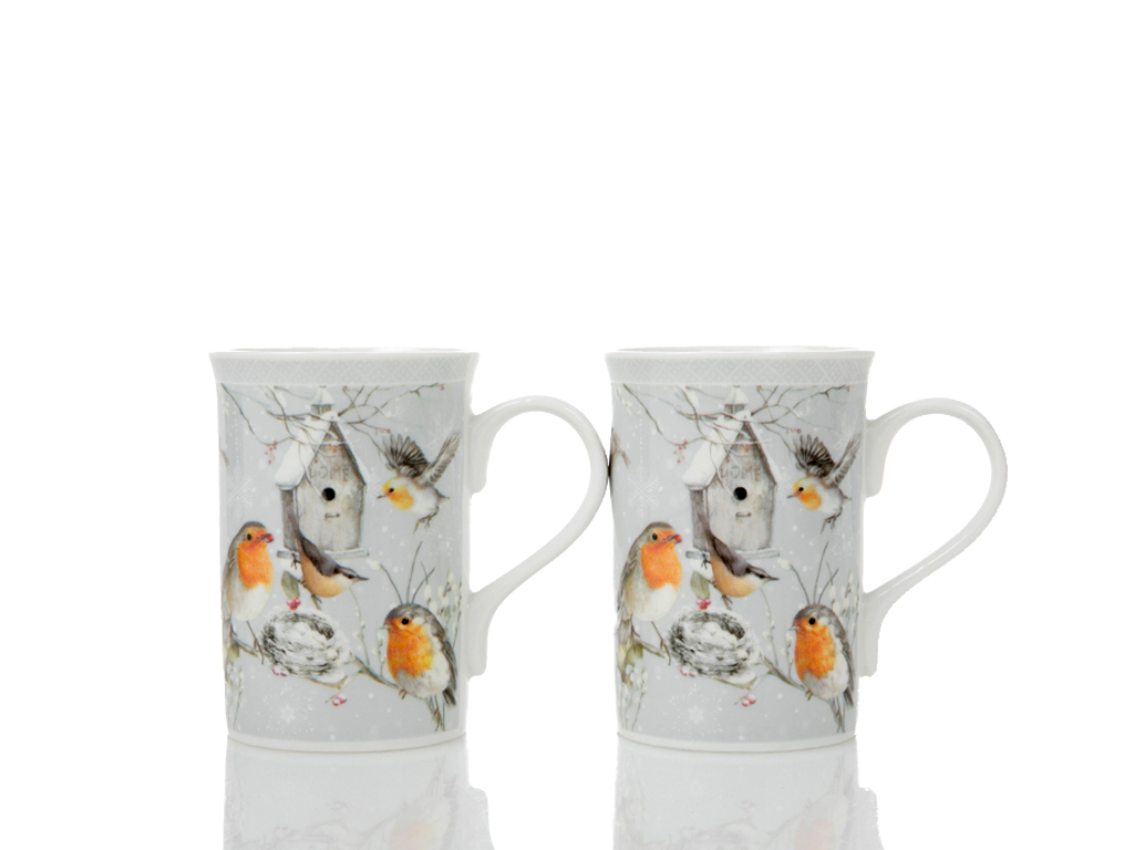 Bird Love Porselen 2'li Kupa 18,6x9,0x11,3 Cm Beyaz